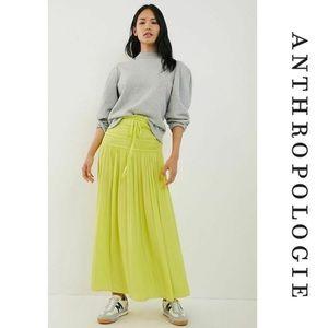 NWT Anthropologie Lynde Smocked Maxi Skirt Lime S